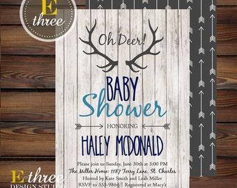 Rustic Baby Boy Shower Invitations - Deer Antler Boy's Shower Invitation - Navy, Gray, Light Blue - Rustic Wood, Arrows, Deer #1002
