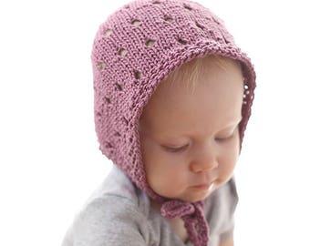 Eyelet Baby Bonnet KNITTING PATTERN / Baby Bonnet Patterns/Newborn Knit Pattern/Classic Bonnet/Simple Bonnet/Bohemian Baby Gift/Baby Bonnets