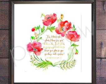 Jeremiah 29:11 - Instant Download - Jeremiah 29 11 Print - Christian Wall Art - Printable Bible Verse - Bible Verse Print