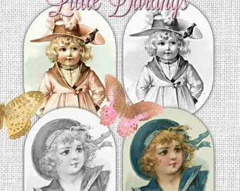 PDF of Vintage Little Darlings Grayscale Adult Coloring Book by Renee Davenport