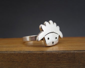 Sterling Silver Sheep Ring - Silver Lamb Ring- Sheep Jewelry