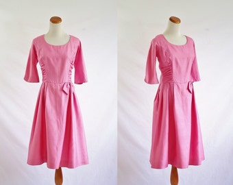 Vintage Silk Dress, 1960s Dress, Ruched Dress, Pink Cocktail Dress, 60s Party Dress, Scop Neck Dress, Bow Dress, Bust 40 Medium Large