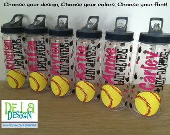 Personalized drinkware, Softball, volleyball, soccer or other sport, polka dots, Available in sport bottle, skinny, kiddie & XL Tumbler