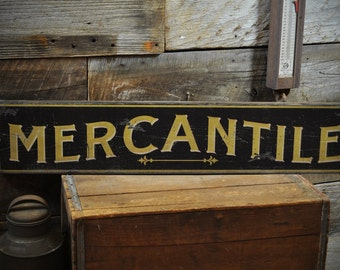 Mercantile Sign, Wood Primitive Home Decor, Old Mercantile, Americana Sign, Rustic Hand Made Vintage, Wooden Kitchen Sign ENS1000244
