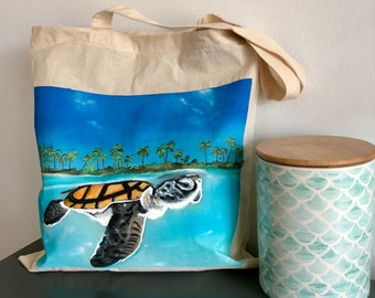 Sea Turtle in Paradise Tote: Beach Bag-Gift Bag- Housewarming Gift- Grocery Tote- Ecofriendly- Cotton