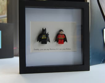 Batman & Robin Frame Superhero Dad Birthday Personalised Present Frame Fathers Son Birthday Gift Wall Art Box frame