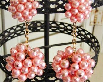 Vintage Retro Mod Pink Pearl Cluster Drop Earrings Faux Pearl Clip On Earrings Runway Statement Earrings Wedding Jewelry
