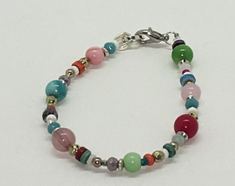 Multi Colored Glass Beaded Bracelet with Lobster claw Closure