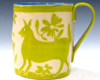 OTOMI Mexico Style SGRAFFITO ANIMALS Mug - Hand Built Fantasy Mexican Style Pottery Carved Design - Flowers Plants