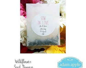 15 Personalised Wildlower Seed Wedding Favour Packets