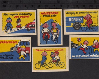 1959 Matchbox Labels - Safety Rules for Children - Collage, Altered Art, Kids Crafts, Arts and Crafts