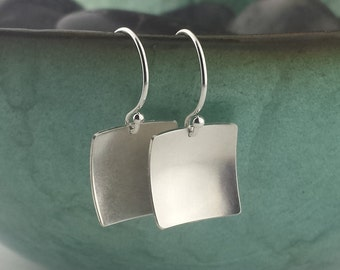 Square Silver Earrings, Sterling Silver Earrings, Domed Square, Small Silver Square, Brushed Finish Silver, Satin Finish, Dainty