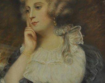 """Antique Pastel After John Russell (Lady), 33.5"""" x 38.25"""", Framed, PA4255, SHIPPING NOT FREE!!!"""