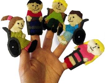 Disabled Finger Puppets / Children's  Felt puppet / Christmas Stocking Filler / Kids / Baby Toys - 5