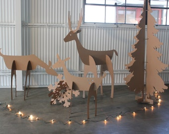 5ft tall Cardboard Christmas Deer Family