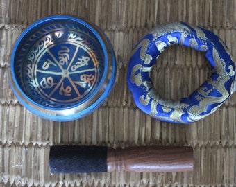 """3.5"""" Blue Color OM Mantra Etched Singing Bowl"""