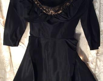 1950's black taffeta dress- Fancy, feminine, swishy and glamorous...