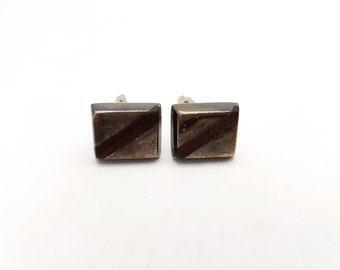 Vintage .925 Sterling Silver Mexico Square Cuff Links / Mexican Metal Cufflinks / Gift for him