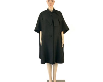 Vintage Black Short Sleeve Cape Style Coat, size M/L
