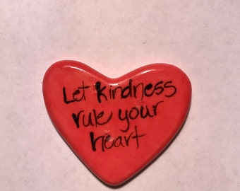 Let Kindness rule special edition Ceramic  Pocket Prayer heart with cross