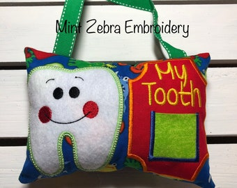 Boy Monster Tooth Fairy Pillow Kids Embroidered Tooth Fairy Pillow