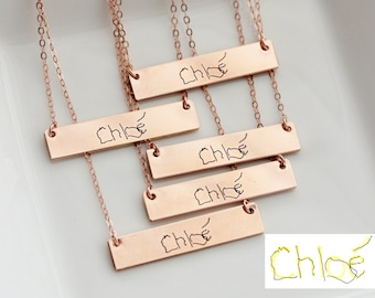 Child's Handwriting Necklace - Custom Handwriting Necklace, Engraved Handwriting, Gift for Mom, Personalized Necklace, Handwritten Necklace