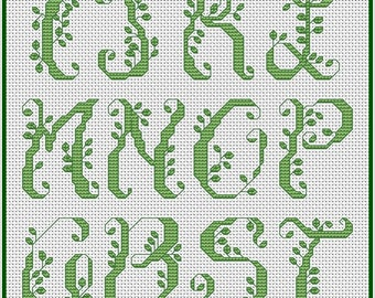Green Leaves Tree ABC Cross Stitch Pattern Green Leaf Tree Alphabet Cross Stitch Chart PDF Downloadable Cross Stitch Chart Instant Download