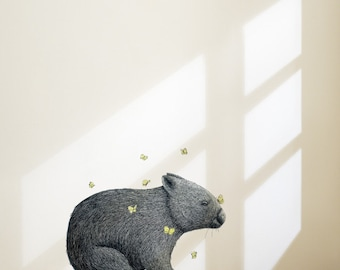 Wombat With Mariposa Removable Wall Sticker