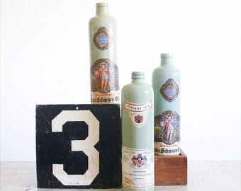 3 Vintage Ceramic Wine Bottles / Instant Collection / Rustic Farmhouse Decor