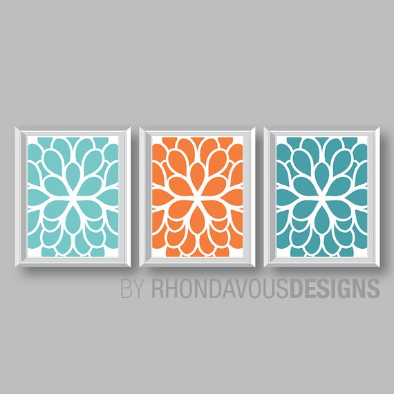 sc 1 st  Etsy & Flower Wall Art. Teal Blue Orange Turquoise Dahlia Flower