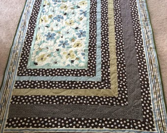 Blue and Brown Apex Lap Quilt