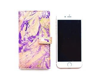 Handmade Lilac Purple Leather iPhone 7 case folio cover, UK