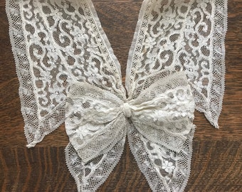 Valenciennes French Net Lace Antique Collar w/Bow~Blouse Embellishment~Ivory/Light Ecru Tape Lace Floral~Early Vintage~France