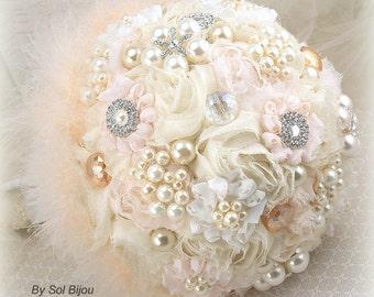 Brooch Bouquet, Peach, Blush, Cream, Ivory, Wedding Bouquet, Bridal, Jeweled, Feathers, Pearls, Crystals, Gatsby, Vintage, Elegant Wedding