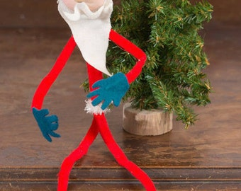 Vintage Felt and Wire Santa, 1960s Kitschy Bendable Skinny Santa