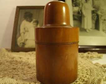 Vintage Patina Treen Ware Wooden 1800's Traveling Bottle Container Jar Box Threaded Lid Antique Wood Round Arts And Crafts Keepsake Stash