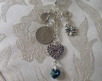 Something Old, Something New,Something Blue. Bridal Bouquet Charm- Traditional Charm- Lucky Sixpence - Wedding Keepsake - Brides Gift