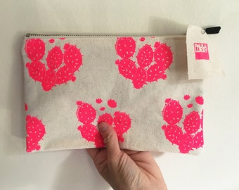 Pink Cactus Screen Printed Cotton Make Up Accessories Bag