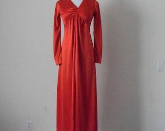FREE usa SHIPPING Vintage women's polyester 1970s maxi dress/ bright orange/ long sleeve/ retro/ V neck/ empire waist