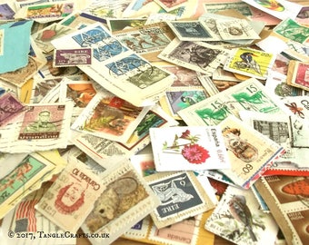 World stamps kiloware on paper | 50g used postage stamps, random mixed modern & vintage stamps | craft, collage, upcycle, decoupage, collect