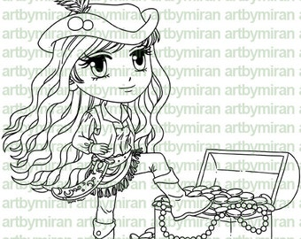 Digital Stamp - Pirate Paityn, Digi Stamp, Coloring page, Printable Line art for Card and Craft Supply