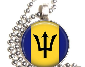 Barbados Flag Art Pendant, Earrings and/or Keychain, Round Photo Silver and Resin Charm Jewelry, Flag Earrings, Flag Key Fob