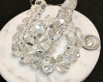 """Faceted crystal rondelle beads, 12"""", 30 pieces, full strand, 12 mm"""
