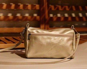 Light gold metallic Leather Purse, Sm. leather Crossbody Bag, made in the USA- Leather Travel Bag, Small Leather Bag for Women- Taryn Style