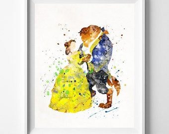 Beauty and the Beast, Belle Watercolor Art, Disney Art Poster, Nursery Posters, Gift Idea, Home Decor, Wall Art, Type 2, Gift For Couple