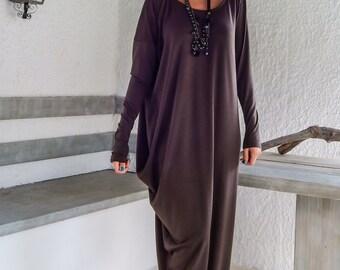 Brown Maxi Dress / Winter Dress / Maxi Dress/ Plus Size Dress / Brown Dress / Asymmetric Dress / Day Dress / Casual Dress / #35050