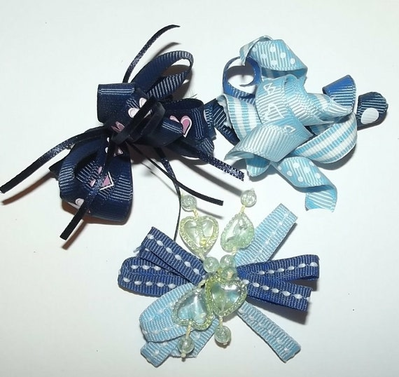 Puppy Bows ~Boys assorted sets of dog bow BLUE animal print white silver  Maltese ~USA seller