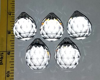 30mm Genuine Asfour Lead Crystal Balls - 1 Crystal or a Set of 5 (1 Hole)