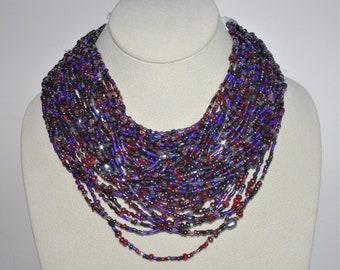 Joan Rivers Torsade Necklace - 20 Strands in Dark Red and Gunmetal - S2486