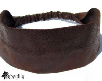 Faux Leather Headbands for Women, Brown Leather Headbands, Leather Head Bands, Leatherette Headband, Bandana Headband, Pleather, Sheylily